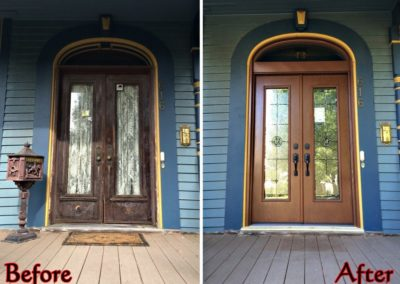 before and after front door remodel
