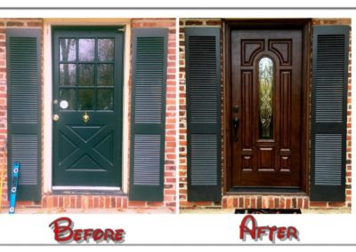 before and after wooden front door