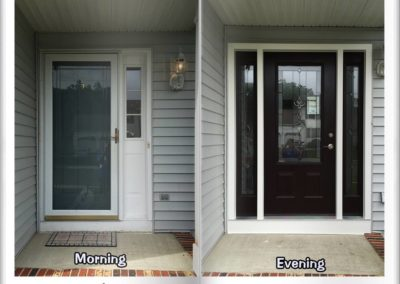 before and after black front door