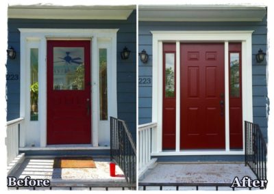 before and after red front door