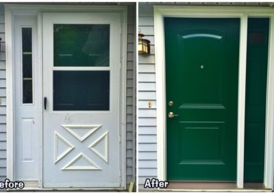 before and after green front door